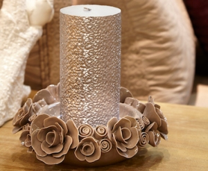 Candle Holder Roses Gray Medium