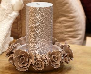Candle Holder Roses Gray Medium