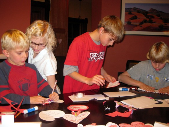 Saren's kids making Valentines cards