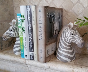 Zebra Bookends in Debbie Osmond's Home