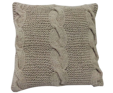 Beige Cable Knit Pillow