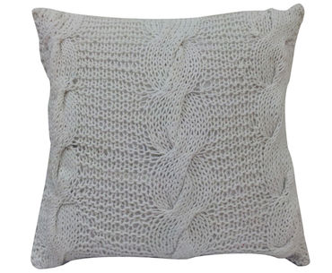 Silver Cable Knit Pillow