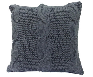 Gray Cable Knit Pillow