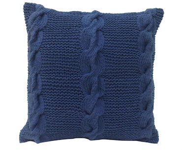 Navy Cable Knit Pillow